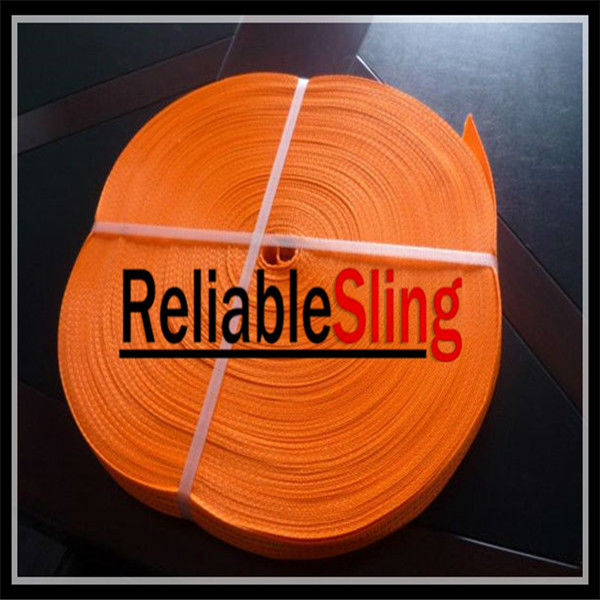 100% High Tenacity Polyester Ratchet Strap Webbing Orange Color